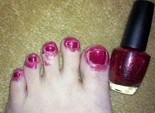Toenail paint trick