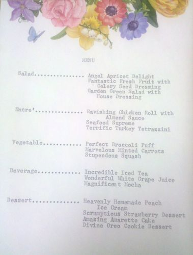 Bridesmaid luncheon menu
