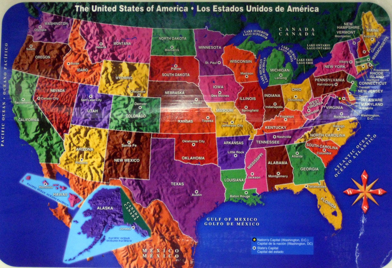Amazoncom United States USA Laminated Placemat Learn Amazoncom - Us map pi