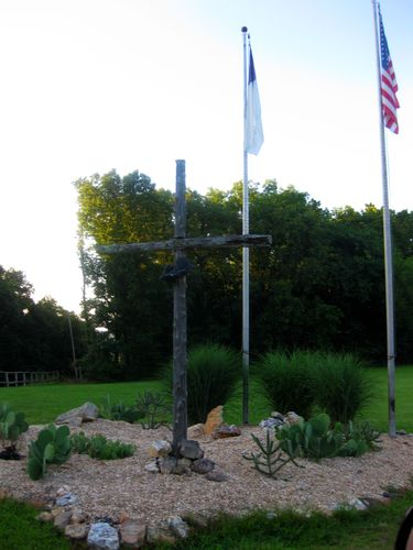 Cross and flags