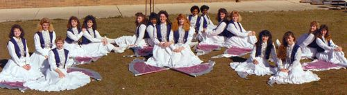 Band flag corps line 1988 closer view