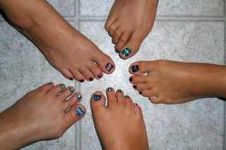 Spa night pedicures with embellishment