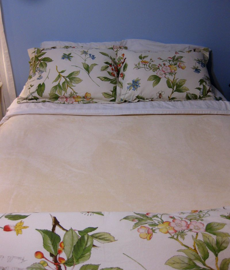 Favorite Berkshire blanket on the bed