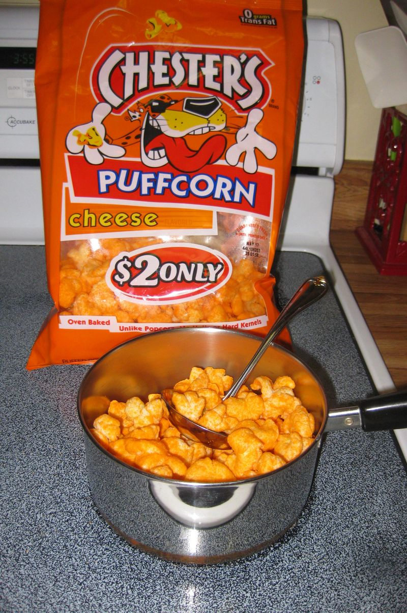 Quick junk food dinner cooking up the puffcorn