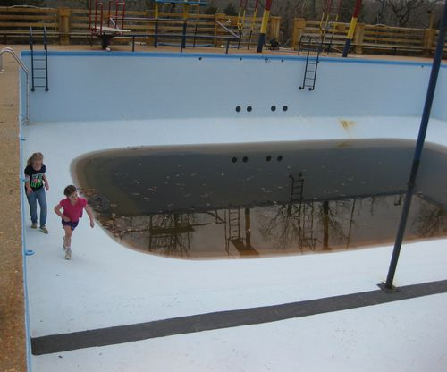 Camping finding an abandoned swimming pool