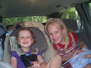 Sisters riding in the van