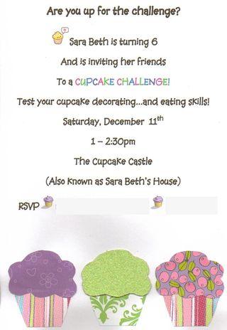 Cupcake Challenge invitation