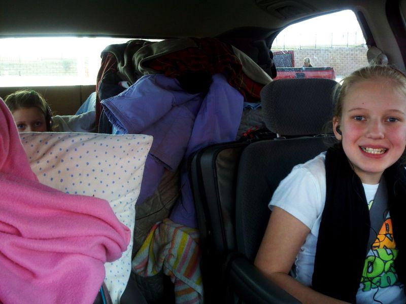 Car trip far back seat