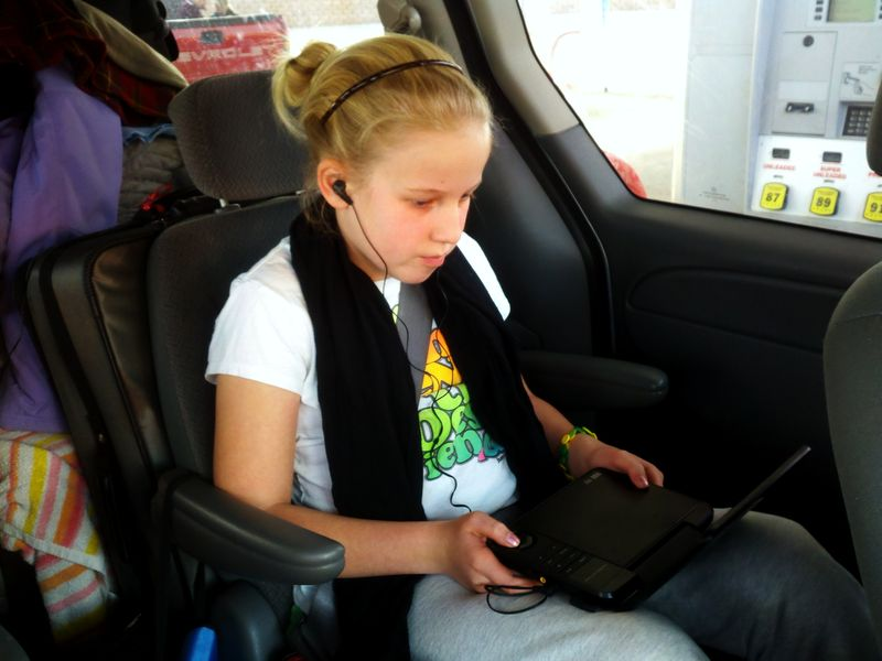 Car trip back seat