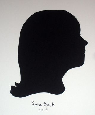 Silhouette paste black onto white background