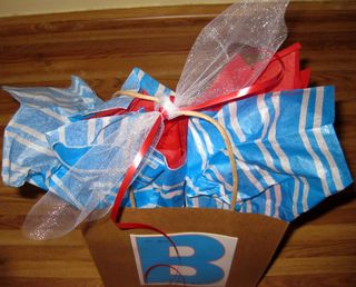 Dressing up a plain gift sack blue red top