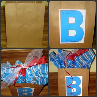 Dressing up a plain brown gift sack blue red 2