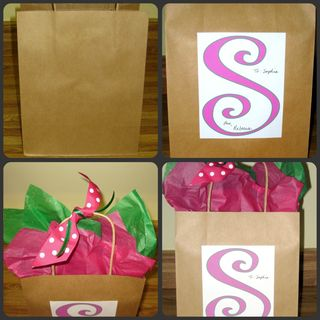 Dressing up a plain gift bag pink collage