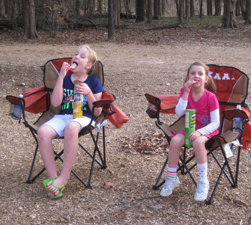 Camping appetizers before dinner