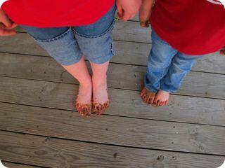 Sisters muddy feet