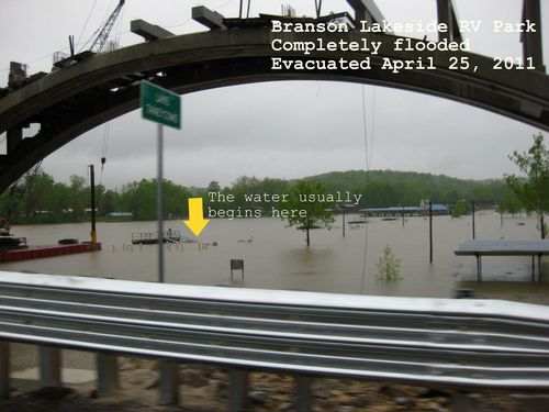 Flooding pictures Branson RV park April 2011