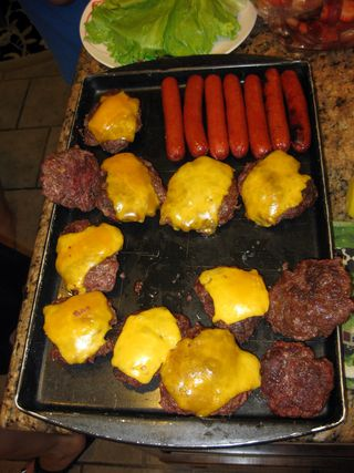 Memorial day grilled burgers and hotdogs