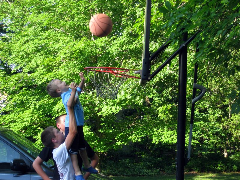 Memorial day dunking the ball like the big boys