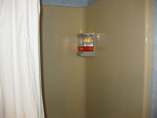 Soap dispenser in the shower
