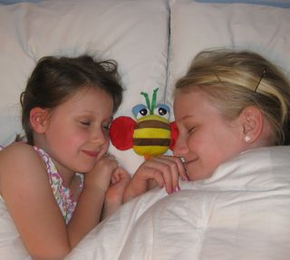 Sisters snuggling the sleepy bee
