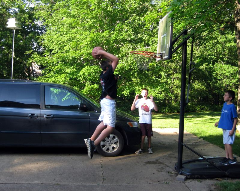 Memorial day dunking the basketball 2