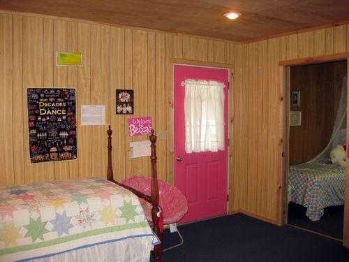 Summer cabin tour daughter back door