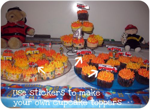 Fireman cupcakes make your own toppers