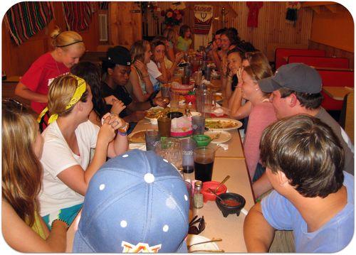 Summer staff at dinner 2011