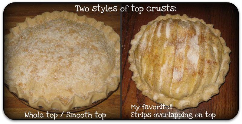 Apple pie styles of top crust