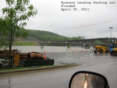 Flooding pictures Branson Landing Parking Lot April 2011