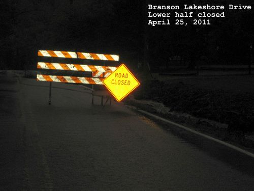 Flooding pictures Branson MO Lakeshore drive closed