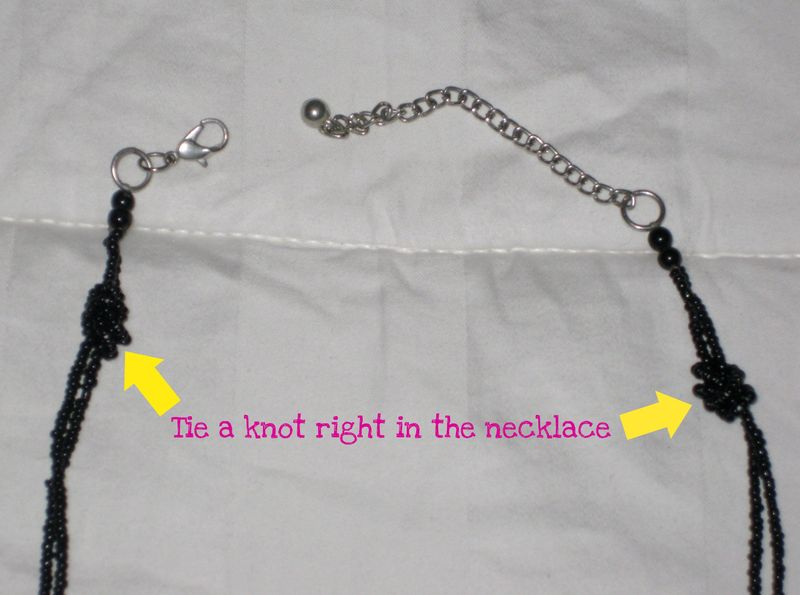How to shorten a necklace up close