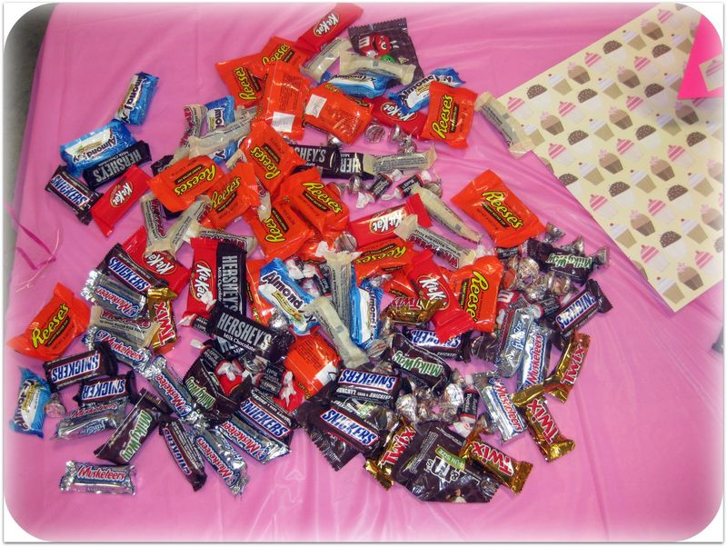 Chocolate party candy up close