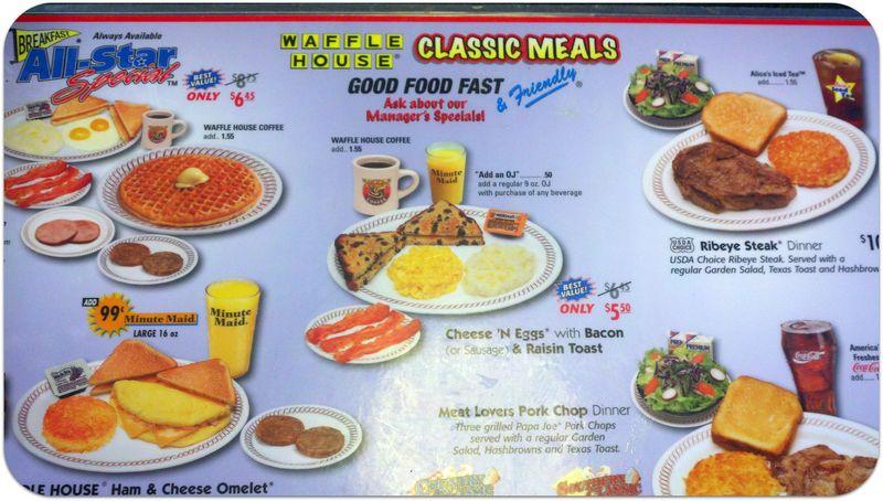 Beach trip waffle house breakfast