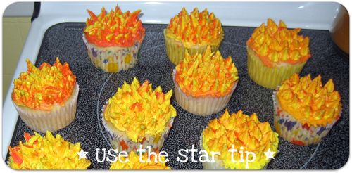 Fireman cupcakes use the star tip