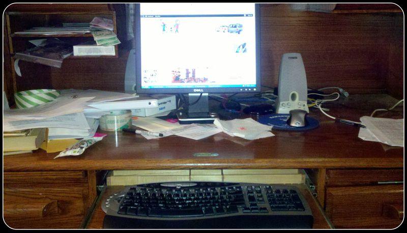 Messy desk picture