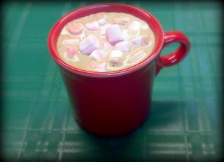 Hot cocoa with peppermint marshmallows