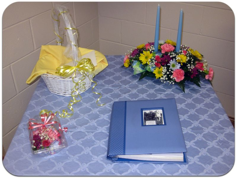 70th birthday party book table up close