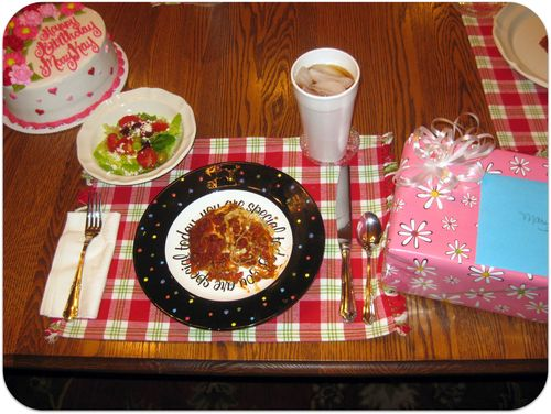 Birthday dinner lasagna cake and presents