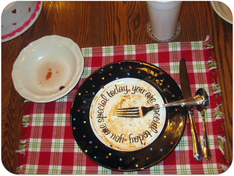 Birthday dinner clean plate club