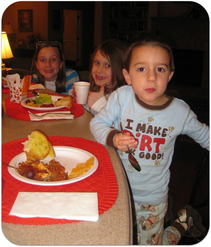 Birthday dinner grandkids eating