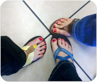 Moms 70th birthday pedicure toes pic