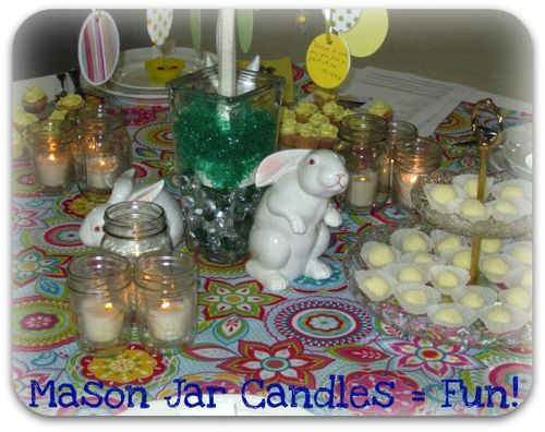 Spring table mason jar candles idea