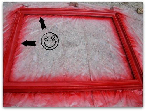 Spray paint the frame red