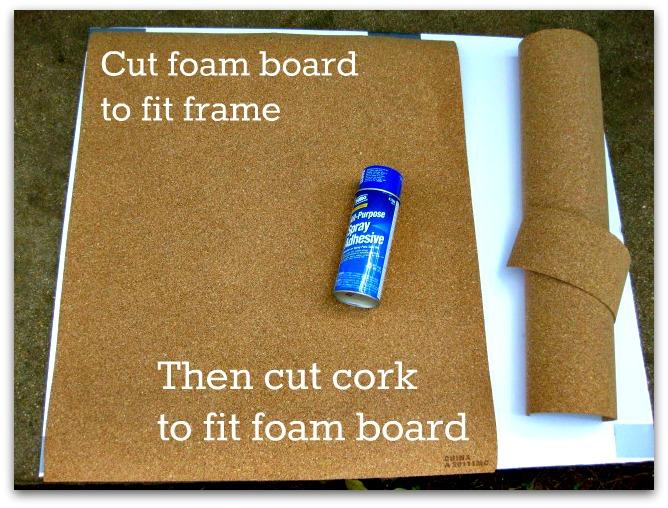 Cut foam board to fit frame