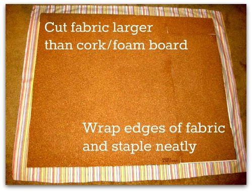 Cover cork foam board with fabric