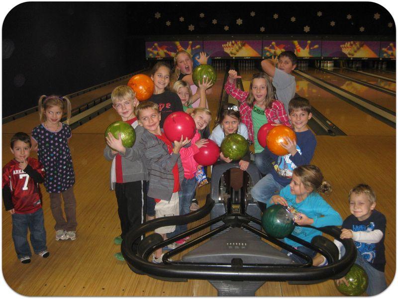 Saras birthday bowling party kids