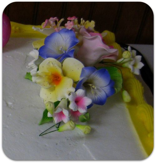 70th birthday party sugar flowers on the cake