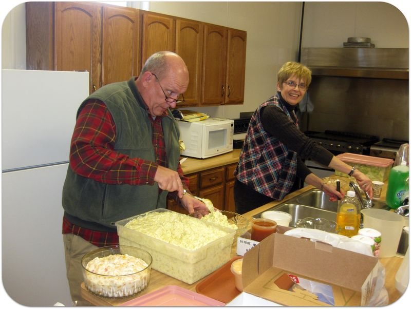 70th birthday party getting food ready