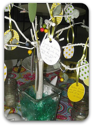 Spring table easy easter egg tree bible verses